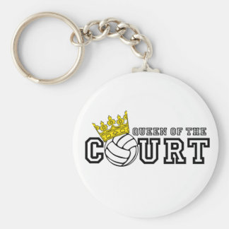 Queen of the Court Basic Round Button Key Ring