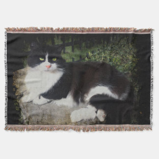 Queen of the Garden Cat Throw Blanket