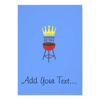 Queen of the grill 13 cm x 18 cm invitation card