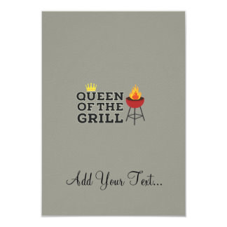 Queen of the grill 9 cm x 13 cm invitation card
