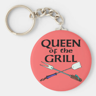 Queen of the Grill Basic Round Button Key Ring