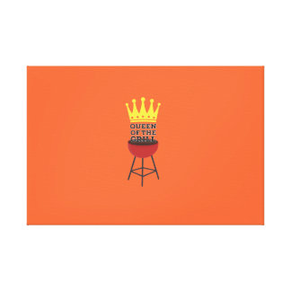 Queen of the grill stretched canvas print