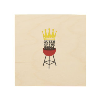 Queen of the grill wood canvas