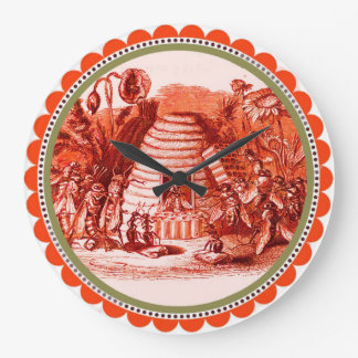QUEEN OF THE HONEY BEES  IN SKEP / BEEKEEPER ,red Wall Clocks