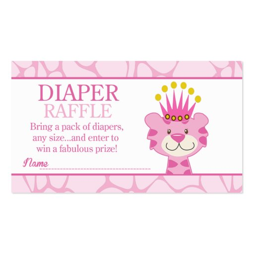 Queen of the Jungle Baby Shower Diaper Raffle Business Card Template