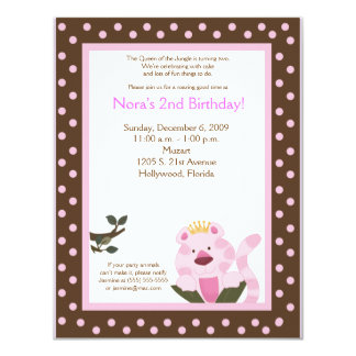 Queen of the Jungle Pink Tiger Birthday Invitation