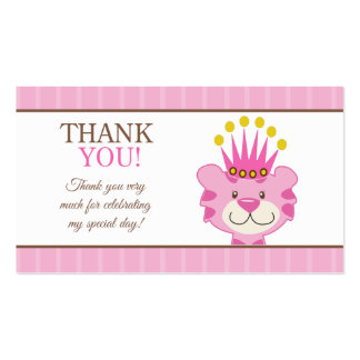 Queen of the Jungle Tiger Favor Thank You Pack Of Standard Business Cards