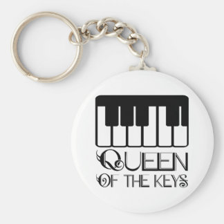Queen of the Keys Piano Basic Round Button Key Ring