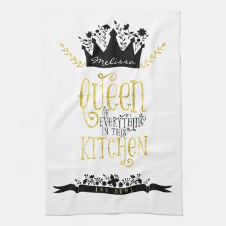 Queen of the Kitchen   Gold & Black Tea Towels