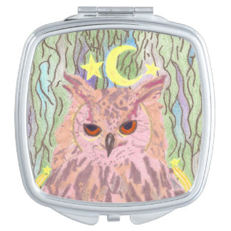 Queen of the Night Girly Owl Mirror Travel Mirrors