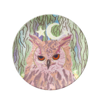 Queen of the Night Girly Owl Porcelain Plate