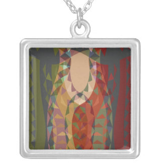 Queen of the Quilting Bee Square Pendant Necklace