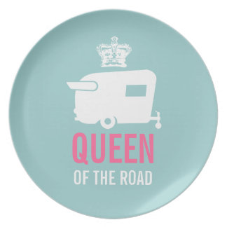Queen of the Road Vintage Camper Plate