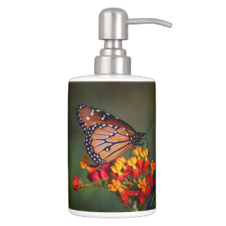 Queen on tropical milkweed soap dispenser and toothbrush holder