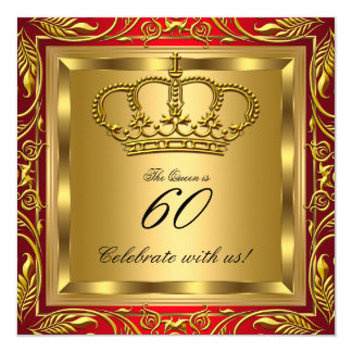 Queen or King Royal Red Gold Elite Birthday Party 5.25x5.25 Square Paper Invitation Card