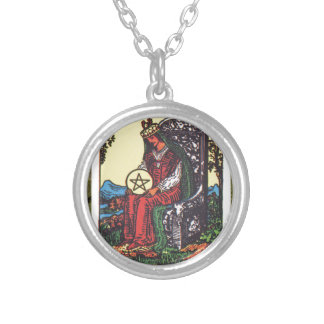 Queen Pentacles Tarot Card Fortune Teller Telling Necklace