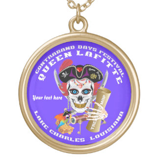 Queen Pirate Lafitte Round View About Design Gold Plated Necklace