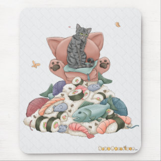 Queen Puss On The Sushi Throne Mouse Pad