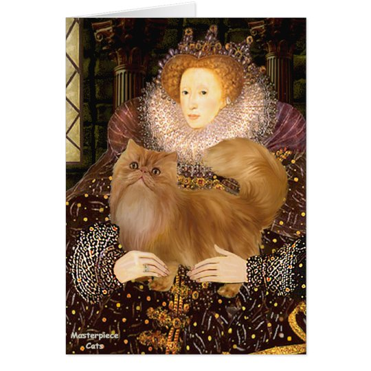 Queen - Red Persian cat Card