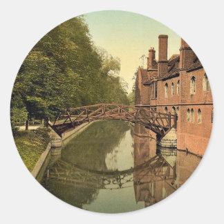 Queen s College Bridge Cambridge England classic Stickers