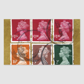 Queen stamp rectangular sticker