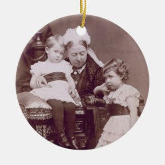 Queen Victoria (1819-1901) with her grandchildren, Round Ceramic Decoration