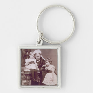 Queen Victoria (1819-1901) with her grandchildren, Silver-Colored Square Key Ring