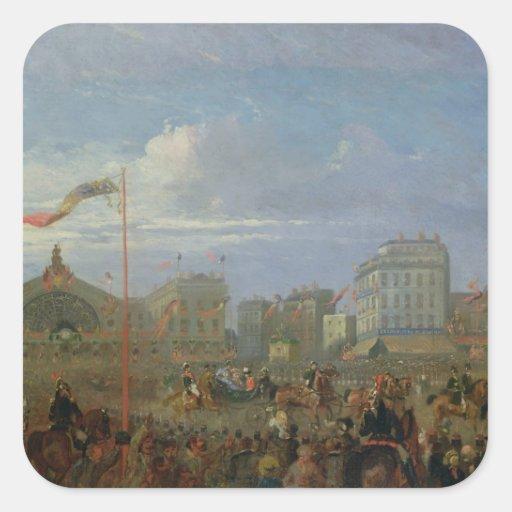 Queen Victoria  Arriving at the Gare de l'Est Square Sticker