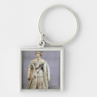 Queen Victoria  doll Silver-Colored Square Key Ring