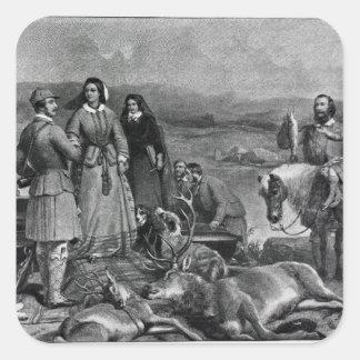 Queen Victoria landing at Loch Muick Square Sticker