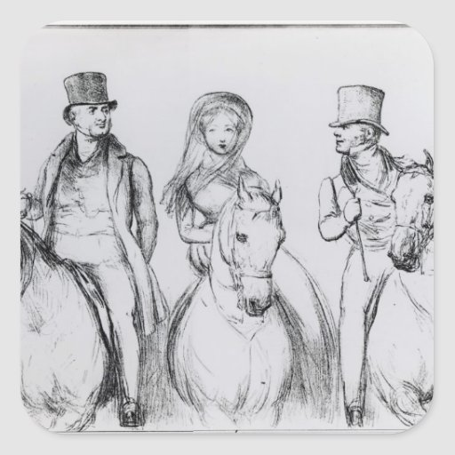 Queen Victoria, Lord Melbourne and Lord Russell Square Sticker