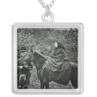 Queen Victoria  on horseback at Balmoral , 1863 Personalized Necklace