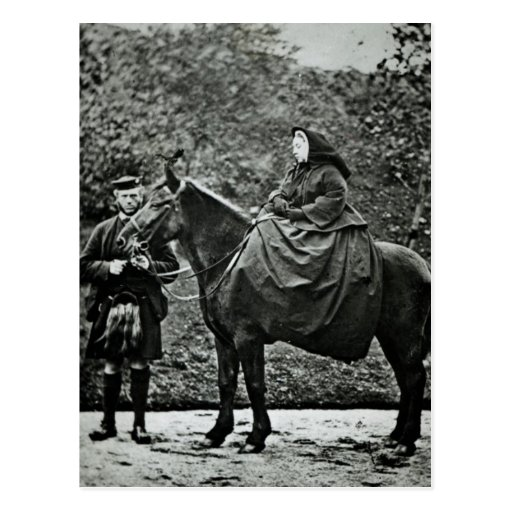 Queen Victoria  on horseback at Balmoral , 1863 Post Card