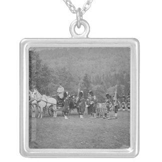 Queen Victoria presenting colours Silver Plated Necklace