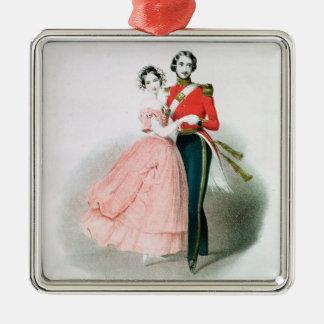 Queen Victoria Silver-Colored Square Decoration