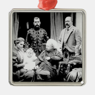 Queen Victoria, Tsar Nicholas II Silver-Colored Square Decoration