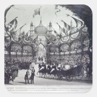 Queen Victoria's first visit to Brighton Square Sticker
