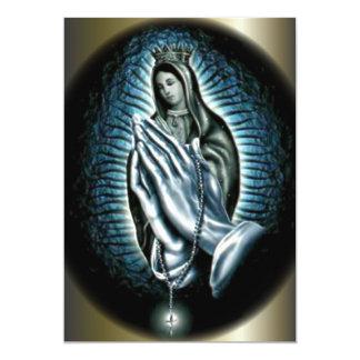 Queen Virgin Mary - Hands of Prayer 5x7 Paper Invitation Card