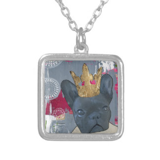 Queen Zoey the French Bulldog Square Pendant Necklace