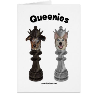 Queenies Chess Dogs Note Card
