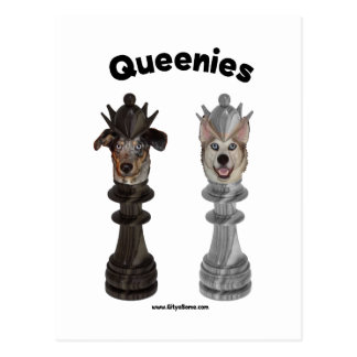 Queenies Chess Dogs Postcard