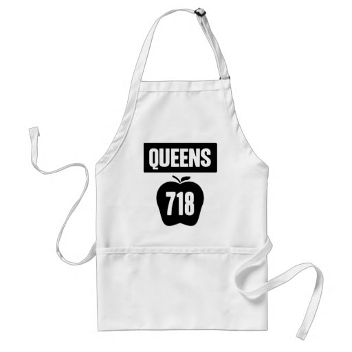 Queens 718 Cut Out of Big Apple &  Banner, 1 Color Apron
