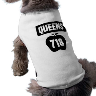 Queens 718 Cut Out of Big Apple &  Banner, 1 Color Pet Clothes