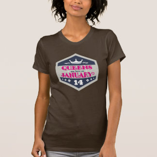 Queens Are Born On January 14th (Grunge) T-Shirt