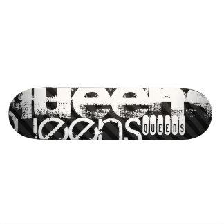 Queens; Black & Dark Gray Stripes 18.1 Cm Old School Skateboard Deck