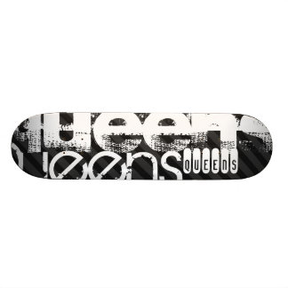 Queens; Black & Dark Gray Stripes Skate Boards