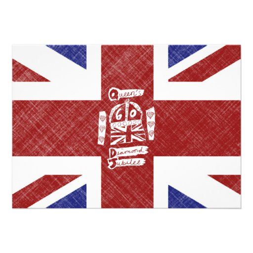 Queen's Diamond Jubilee 2012 Emblem & Flag Custom Invitation
