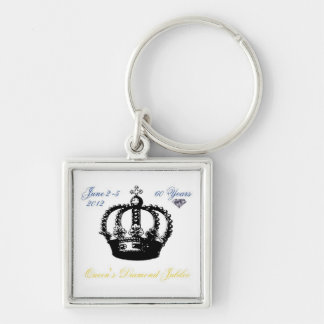Queens Diamond Jubilee 2012 Keychain Silver-Colored Square Keychain