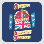 Queen's Diamond Jubilee 2012 Official Colour Square Sticker