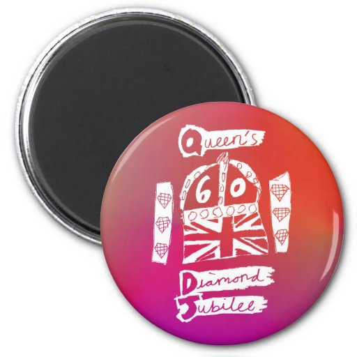 Queen's Diamond Jubilee 2012 Official White Emblem Magnets